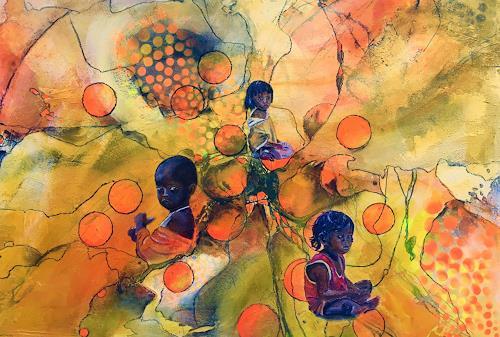 Ursi Goetz, Wärme, Menschen: Kinder, Action Painting, Expressionismus