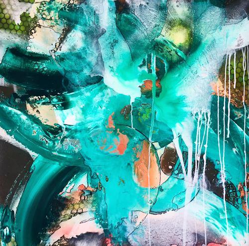 Ursi Goetz, Sommerregen, Abstraktes, Fantasie, Action Painting