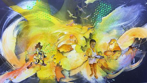 Ursi Goetz, Tagträumen l, Menschen: Kinder, Abstraktes, Action Painting