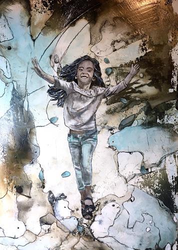 Ursi Goetz, Juhuii bald ist es so weit, Menschen: Kinder, Abstraktes, Aktionskunst