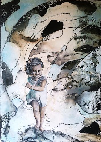 Ursi Goetz, Kind sein ist herrlich..., Abstraktes, Menschen: Kinder, Action Painting, Expressionismus