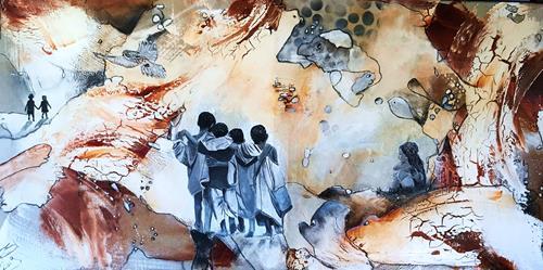 Ursi Goetz, Auf dem Weg zu..., Menschen: Gruppe, Abstraktes, Aktionskunst, Expressionismus