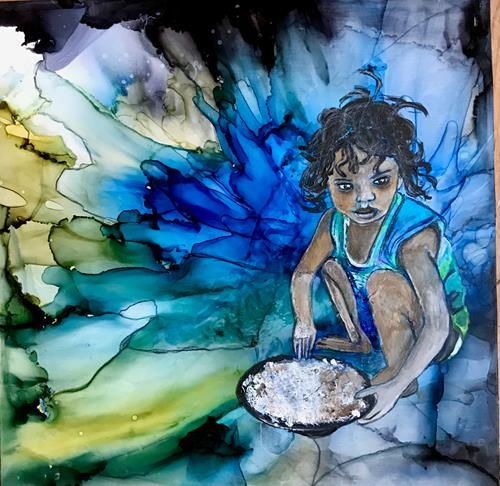 Ursi Goetz, In ihrer eigenen Welt, Menschen: Kinder, Abstraktes, Gegenwartskunst, Expressionismus