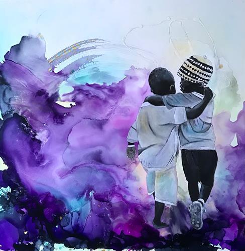 Ursi Goetz, Freunde umarmen, Menschen, Menschen: Paare, Gegenwartskunst, Expressionismus