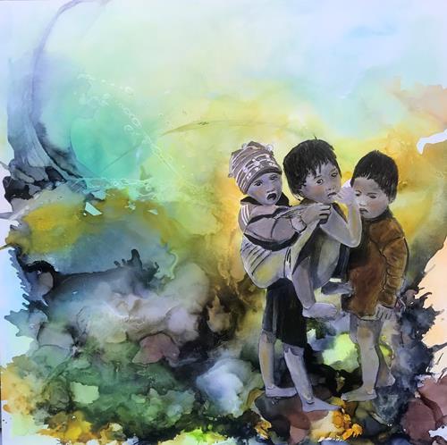 Ursi Goetz, Für einander da, Menschen, Menschen: Kinder, Gegenwartskunst