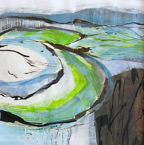 Renate Migas, first green, Landschaft: Frühling, Poesie, Gegenwartskunst