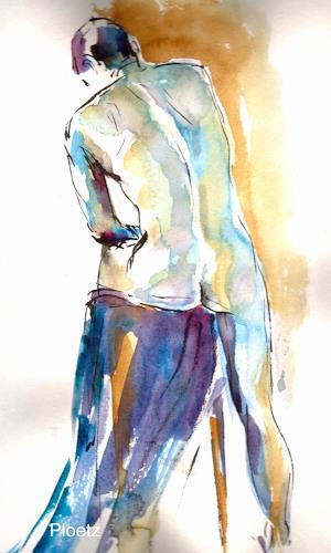 Elena Ploetz, Male Nude in Blue, Akt/Erotik: Akt Mann, Menschen: Mann, Expressionismus