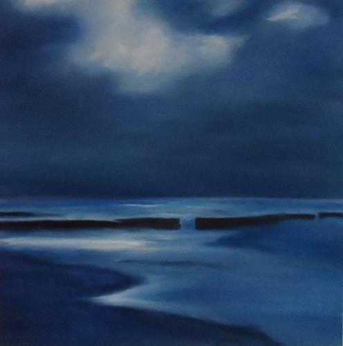 Kerstin Weber, In Mitten der Nacht, Landschaft: See/Meer, Gegenwartskunst, Expressionismus