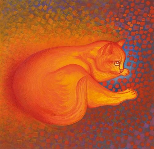 Hans Rüttimann, Rotäuglein fühlt sich wohl an seinem warmen Plätzchen im Katzenhimmel, Tiere: Land, Tiere: Land, Surrealismus, Expressionismus