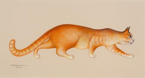 Hans Rüttimann, Katze auf Verfolgungsjagd, Tiere: Land, Realismus, Expressionismus
