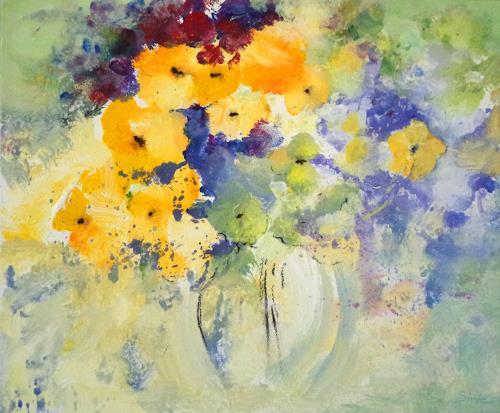 Elke Andrea Strate, Blumen in runder Vase, Pflanzen: Blumen, Moderne, Expressionismus