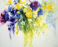 E. Strate, Blumen in langer Vase