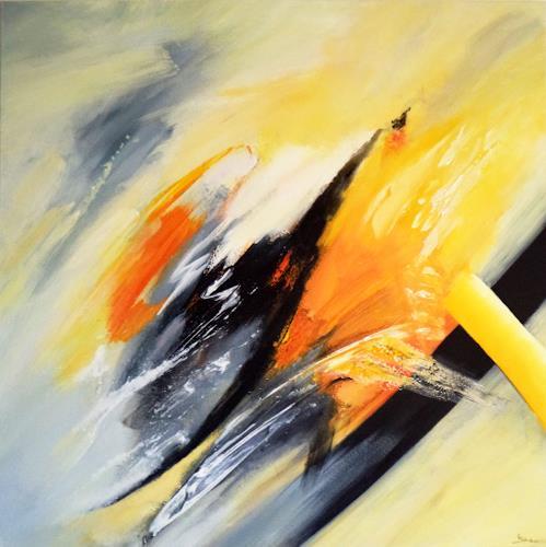 Elke Andrea Strate, Komposition in Gelb-Grau, Abstraktes, Informel