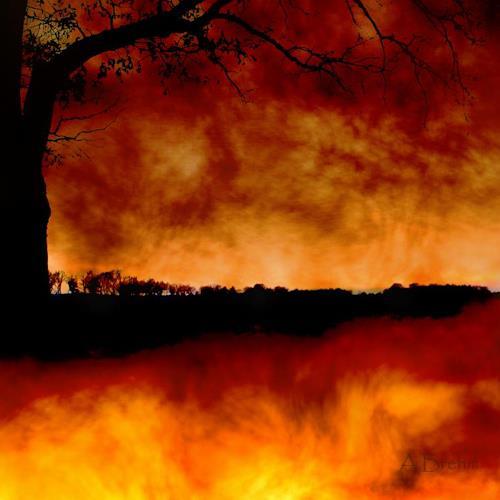 Anke Brehm, Die Erde brennt, Fantasie, Landschaft, Fotorealismus, Expressionismus