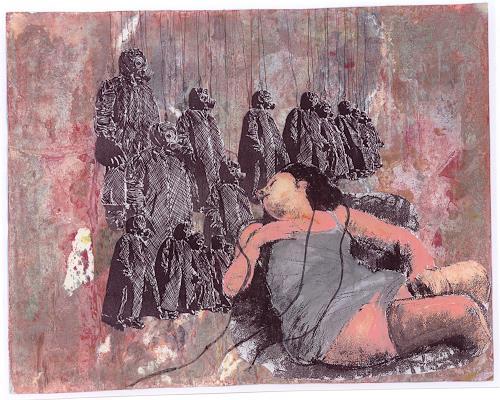 Frauke Klinkforth, unter Beobachtung, Menschen: Gruppe, Gegenwartskunst, Abstrakter Expressionismus