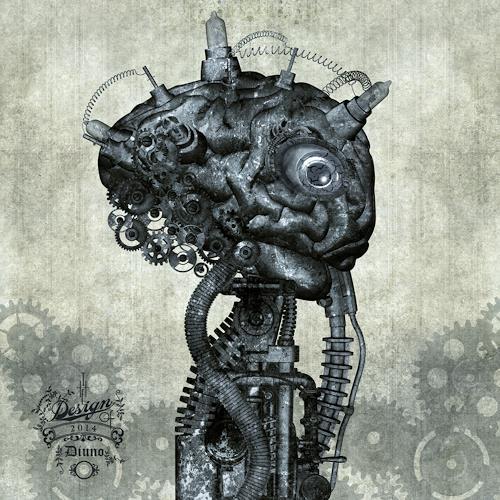diuno, Porträt eines antiken Cyborg, Fantasie, Abstraktes, Postsurrealismus, Abstrakter Expressionismus