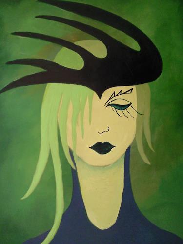 Elke Hildegard Qual, Frau mit Hut, Menschen: Gesichter, Menschen: Porträt