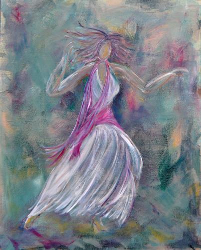 Elke Hildegard Qual, Tanz am Strand, Bewegung, Menschen: Frau