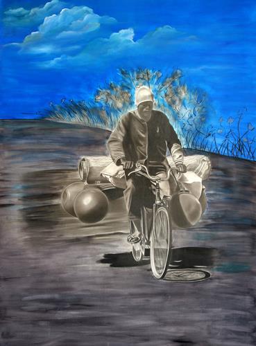 Jorge Melício, The pedalboard and the man, Menschen: Mann, Verkehr: Fahrrad, Hyperrealismus