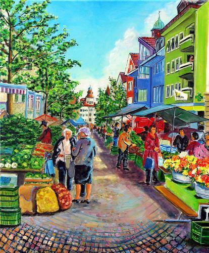 Ulrich Herren, 236 # Märit in Langenthal (Marktgasse)., Markt, Expressionismus