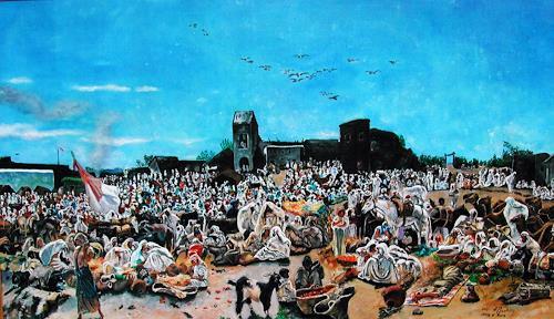 Ulrich Herren, 4#Markt in Tanger   F. Buchser, Menschen, Abstrakte Kunst, Abstrakter Expressionismus