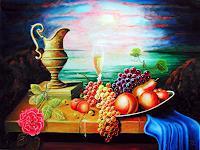 U. Herren, 184 # Stillleben Messingkrug mit Früchten und Rose.