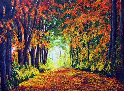 Ulrich Herren, 554# Herbstpfad, Landschaft, Impressionismus, Expressionismus