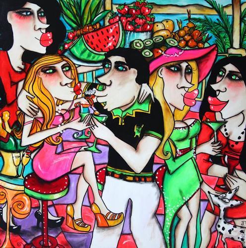 Anastasia May, Cocktail Party, Menschen: Gesichter, Party/Feier, Pop-Art, Expressionismus