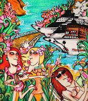 Anastasia-May-Verkehr-Schiff-Menschen-Frau-Moderne-Pop-Art