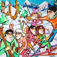 Anastasia-May-Menschen-Gruppe-Landschaft-Winter-Moderne-Pop-Art