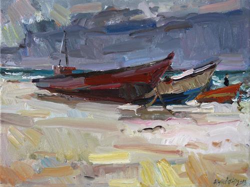 Juliya Zhukova, Boats, Landschaft: See/Meer, Arbeitswelt, Impressionismus, Expressionismus