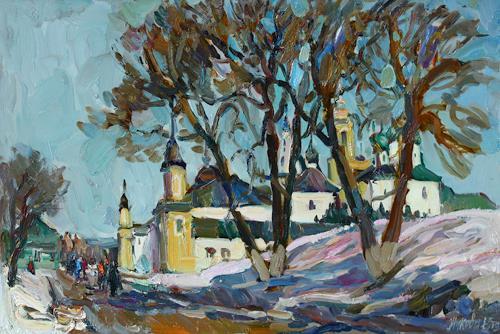 Juliya Zhukova, On road to spring, Landschaft: Winter, Architektur, Realismus, Expressionismus