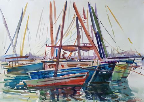 Juliya Zhukova, Boats on the nile river. Luxor, Landschaft: Tropisch, Natur: Wasser, Postimpressionismus