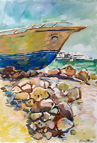 Juliya Zhukova, Old boat, Landschaft: See/Meer, Landschaft: Tropisch, Postimpressionismus