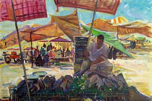 Juliya Zhukova, Fish seller. Market in Luxor, Menschen: Gruppe, Markt, Postimpressionismus