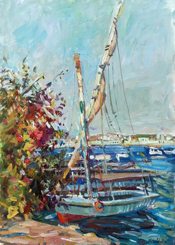 Juliya Zhukova, Boats on the Nile, Landschaft: See/Meer, Landschaft: Tropisch, Postimpressionismus