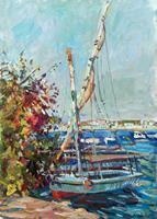 Juliya-Zhukova-Landschaft-See-Meer-Landschaft-Tropisch-Moderne-Impressionismus-Postimpressionismus