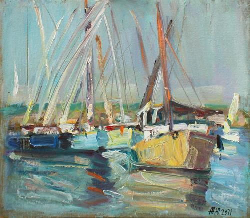 Juliya Zhukova, Boats in Luxor, Landschaft: See/Meer, Natur: Wasser, Impressionismus
