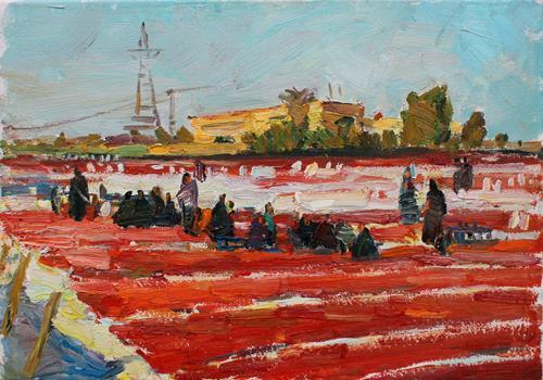Juliya Zhukova, Drying tomatoes in Luxor, Menschen, Landschaft: Tropisch, Postimpressionismus, Expressionismus