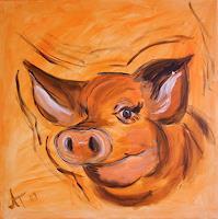 Annett-Tropschug-1-Humor-Tiere-Land-Moderne-Andere-Neue-Figurative-Malerei