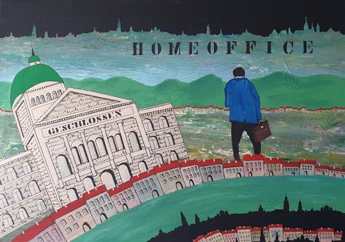 René Gygax, Homeoffice, Dekoratives, Gegenwartskunst, Abstrakter Expressionismus