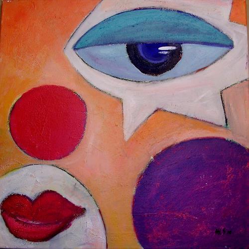 Hiltrud Schick, modern Art II Clown, Menschen, Zirkus, Abstrakte Kunst