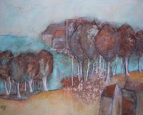 Hiltrud Schick, Landschaft in Rost, Landschaft, Natur, Gegenwartskunst, Expressionismus