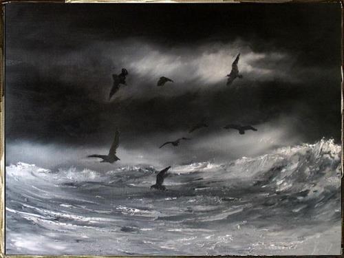 Henri Lehmann, Der frühe Morgen, Landschaft, Tiere: Wasser, Gegenwartskunst, Expressionismus