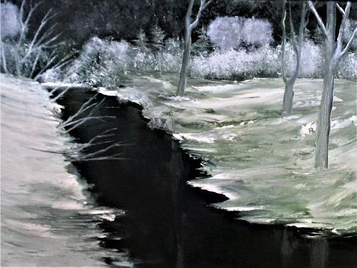 Henri Lehmann, ruisseau silencieux en robe d'hiver_, Landschaft: Winter, Abstrakte Kunst, Abstrakter Expressionismus