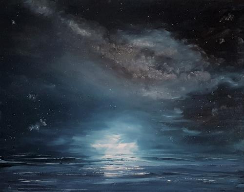 Henri Lehmann, Milky way with calm sea, Landschaft: See/Meer, Natur: Wasser, Gegenwartskunst, Expressionismus