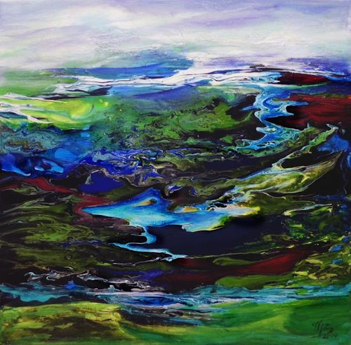 Marion Bellebna, Fjord I, Landschaft, Natur, Gegenwartskunst, Expressionismus