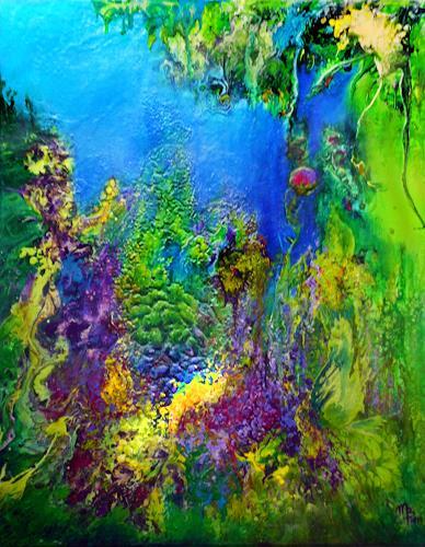 Marion Bellebna, Natur abstrakt 35, Fantasie, Pflanzen: Blumen, Informel, Expressionismus