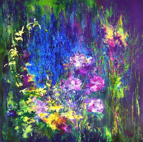 Marion Bellebna, Sommergarten, Natur: Diverse, Pflanzen: Blumen, Informel, Expressionismus