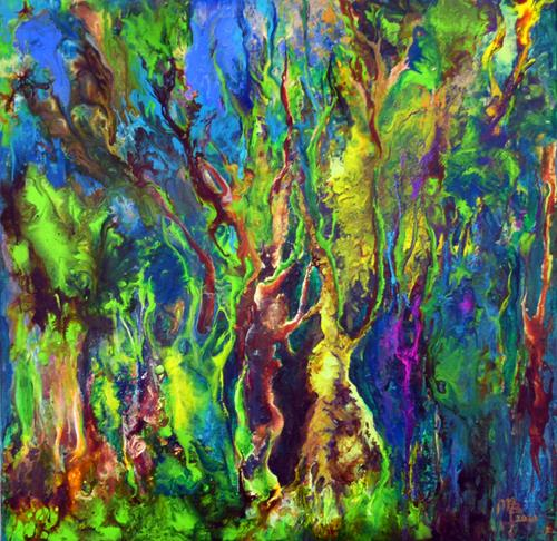Marion Bellebna, Natur abstrakt 41, Natur: Wald, Fantasie, Informel, Expressionismus